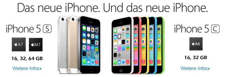 Apple iPhone 5S + 5C bestellen
